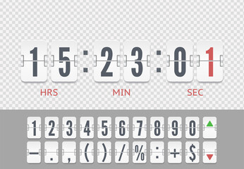 Vintage floating symbols for time meter vector template. White analog countdown number font. Flip numbers and symbols font for information web page or time counter.