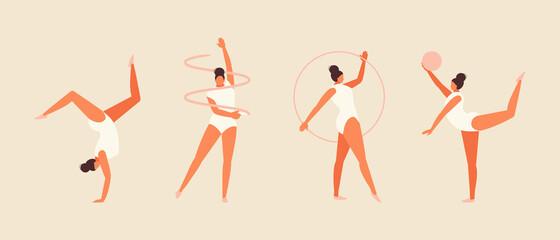 Sports girl doing rhythmic gymnastics. Vector illustration set