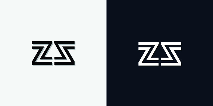 Modern Abstract Initial letter ZS logo. This icon incorporates two abstract typefaces in a creative way. It will be suitable for which company or brand name starts those initial.