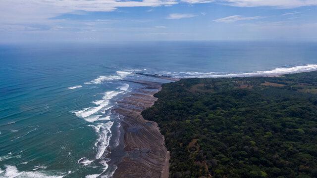 Beautiful aerial view of Esterillos Beach the pacific of Costa Rica