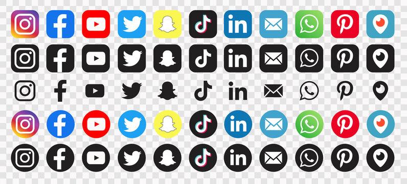 icons social media :Facebook, twitter, instagram, youtube, snapchat, pinterest, whatsapp, linkedin, tiktok