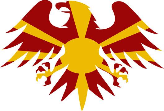 north macedonia flag heraldic eagle vector - editable flags and maps