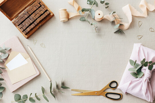 Neutral colors stationery mock-up scene.