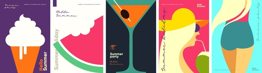Fototapeta Summer. A set of flat vector illustrations. Summer time, background patterns. Ice cream, watermelon, cocktail, girls. Perfect background for posters, cover art, flyer, banner. obraz