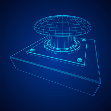 Big panic launch alarm push button. Wireframe low poly mesh vector illustration