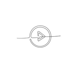 hand drawn doodle play button illustration in single line art doodle