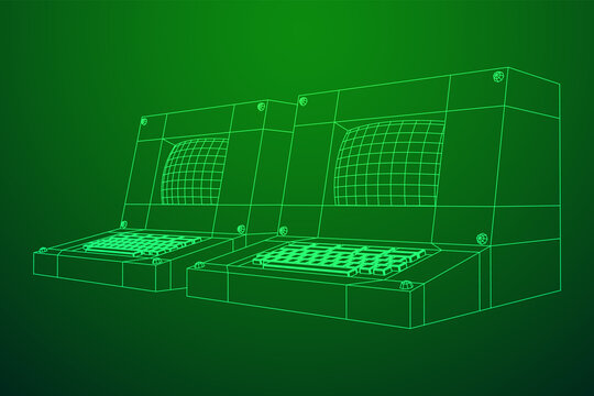 Classic retro perconal computer. Programming code concept. Wireframe low poly mesh vector illustration
