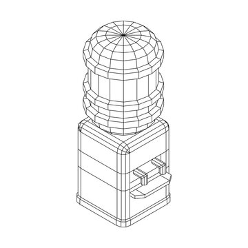 Water cooler with full bottle. Refreshment office concept. Wireframe low poly mesh vector illustration