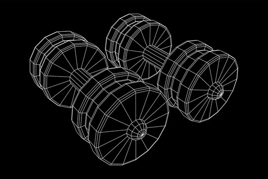 Dumbbells Gym equipment. Bodybuilding, powerlifting, fitness concept. Wireframe low poly mesh vector illustration