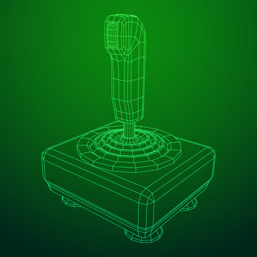 Joystick with buttons. Retro video game controller gamepad. Wireframe low poly mesh vector illustration