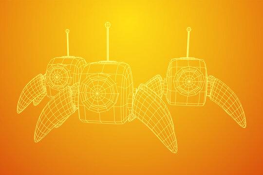 Spider robot with radar antenna. Nanobot, nanotechnology medical concept. Wireframe low poly mesh vector illustration