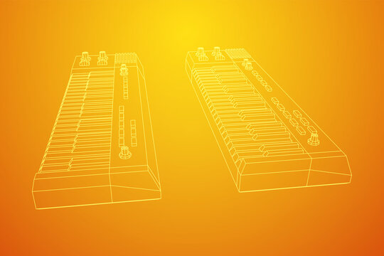 Piano roll analog synthesizer faders buttons knobs. Wireframe low poly mesh vector illustration.