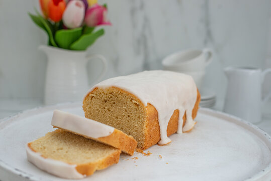 Homemade pound cake with vanilla and organic lemons
