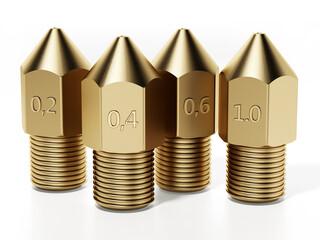 Obraz Brass 3D printer nozzles isolated on white background. 3D illustration - fototapety do salonu
