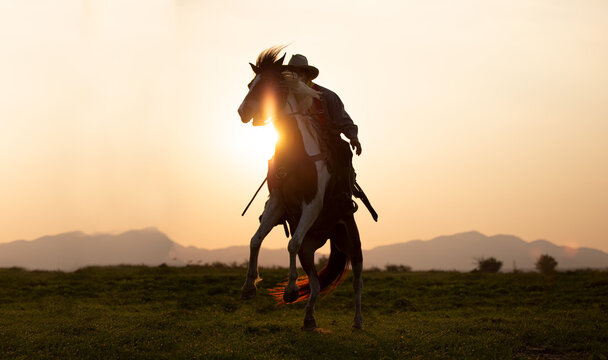 Silhouette Cowboy on horseback against a beautiful sunset, cowboy and horse at first light,mountain, river and lifestyle with natural light background..