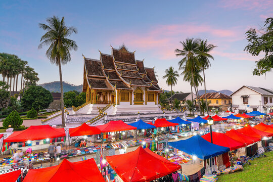 Cityscape of old town Luang Prabang in Loas