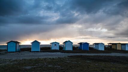 tiny wooden houses at the southern sweedish coast