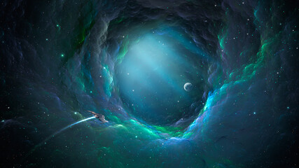 Fototapeta Space background. Spaceship fly through colorful nebula fractal tunnel to planet. Elements furnished by NASA. 3D rendering