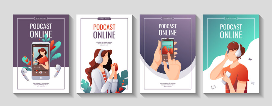 Set of promo flyers for Podcast, Streaming, listening to music, Online show, blogging, radio broadcasting. A4 vector illustration for poster, banner, advertising.