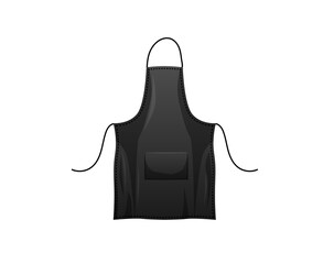 Fototapeta Black apron template. Protective clothing for cooks and factory workers durable cotton fabric with ties prevent spillage and vector ingredients.