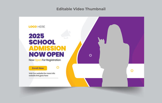 Creative Editable thumbnail design for any videos. Kids school education admission customizable video thumbnail and web banner template. Video cover photo for social media