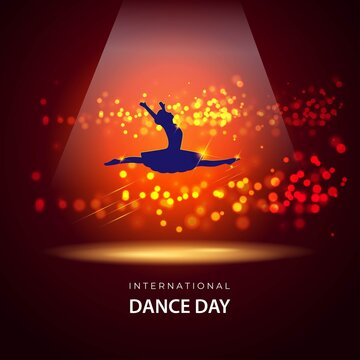 Vector illustration concept of International Dance Day greeting with dancing ballerina silhouette. 29 April.