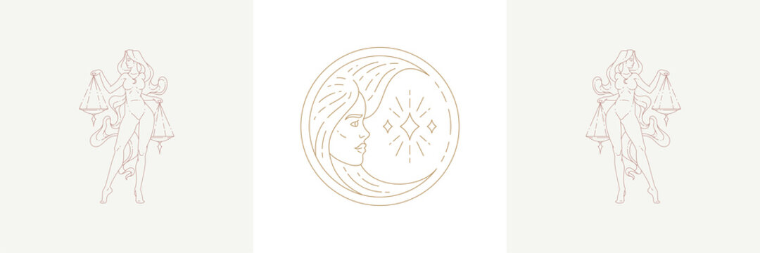 Magic woman face as moon crescent and female libra in boho linear style vector illustrations set.