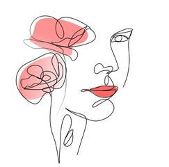 One Line Of A Woman's Face. A Continuous Line Of A Female Portrait With Floral Elements In A Modern Minimalist Style. Vector illustration for poster, postcard, T-shirt printing, logos