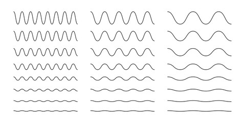 Collection of wavy or zigzag lines. Horizontal thin lines wave. Dotted line. Big set black color. Vector illustration.