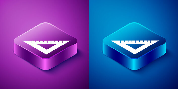 Isometric Triangular ruler icon isolated on blue and purple background. Straightedge symbol. Geometric symbol. Square button. Vector