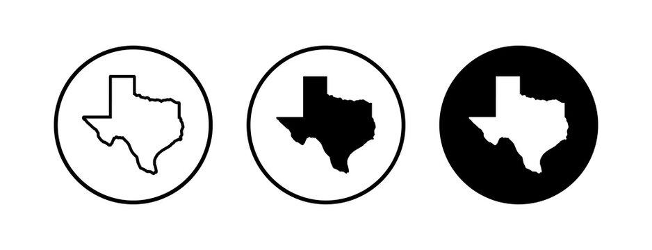 Texas map icons set. Texas map icon. Texas symbol.