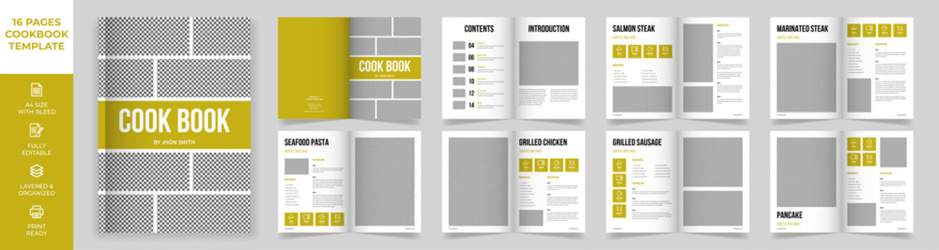 Cookbook Layout Template with Green Accents, Simple style and modern design, Recipe Book Layout