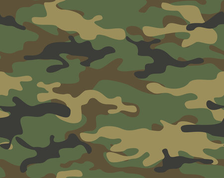 Camouflage seamless pattern. Abstract camo from spots. Endless background of spots. Military texture. Print on fabric and textiles. Vector illustration