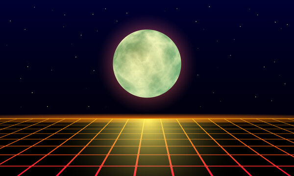 yellow moon and lunar trail on a landscape laser grid in space. Futuristic fantastic background in 80s style.