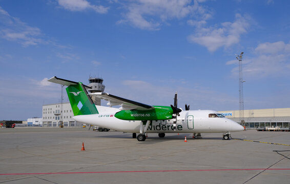 Wideroe Dash 8 103 parked at Bodo airport, north Norway