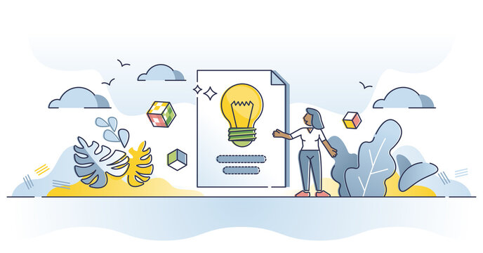 Discussion topic and bright idea presentation or description outline concept. Business startup meeting speech and representation with flipchart sheets and information explanation vector illustration.
