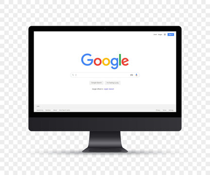 Imac with Google search window mockup. Vector illustration EPS10