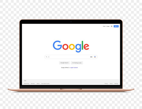 Macbook air with Google search window mockup. Vector illustration EPS10