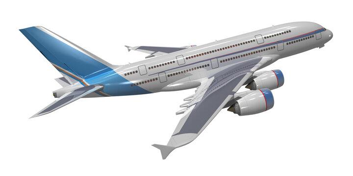 3d Großraum Passagierflugzeug gra-blau, isoliert