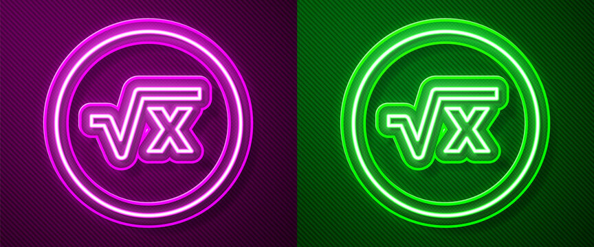 Glowing neon line Square root of x glyph icon isolated on purple and green background. Mathematical expression. Vector
