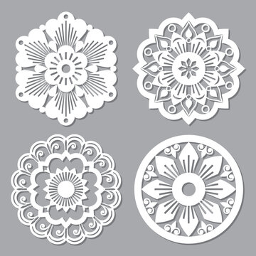 Moroccan retro vector mandala design collections, four openwork vector detailed arabic patterns with flowers, leaves and swirls