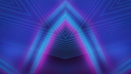 Fototapeta Empty dark abstract background with ultraviolet geometric lines. Neon glow.
