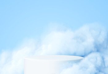 Obraz Blue background with a product podium surrounded by blue clouds. Smoke, fog, steam background. Vector illustration - fototapety do salonu