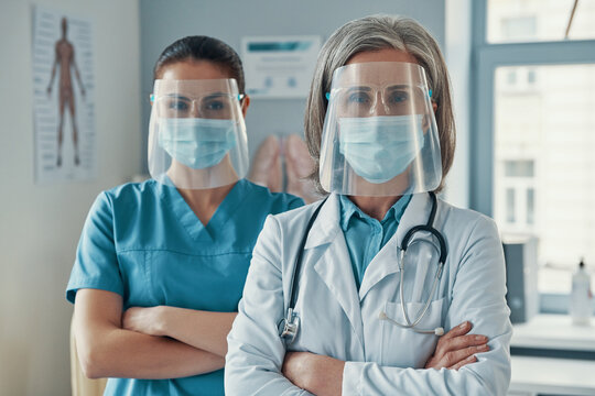 Two women coworkers in medical uniform