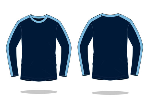 Two Tone Long Sleeve T-Shirt Navy Blue-Light Blue Design Vector.Front And Back View.