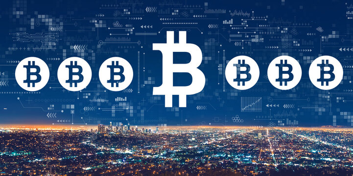Bitcoin theme with downtown Los Angeles