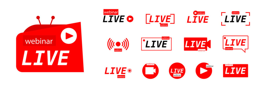 Live icon. Stream set. Live steam button set. Vector concept from live icons. Vector illustration