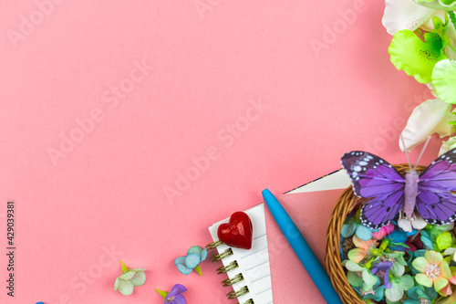Spring workspace for holiday, happy mother's day concept of celebration, flat lay and top view photo with copy space