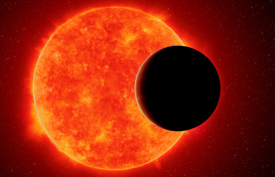 Exoplanet against red dwarf, elements of this image furnished by NASA