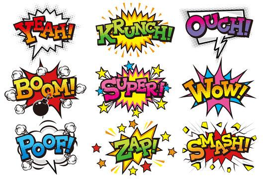 コミック風の擬音語や感嘆符を表現した文字素材